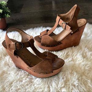 Shoes - 2/$30 Brash brown faux suede wedge platform heels